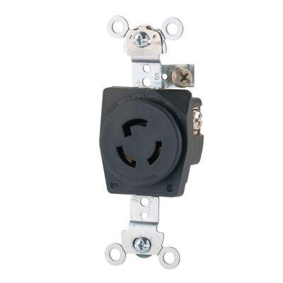 Contacto sencillo industrial 125 V negro