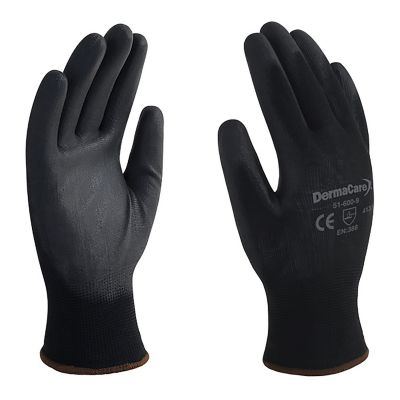 Guante de nylon negro c/palma poliuretano talla 8
