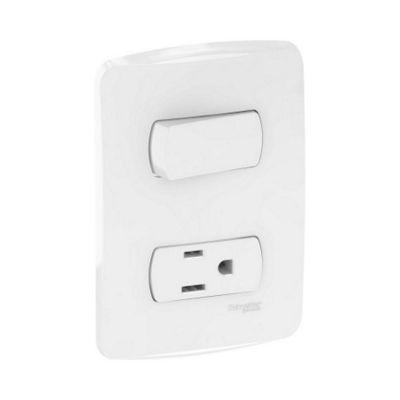 1 interruptor sencillos 10A + 1 contacto 2P+T 15A, producto armado (incluye placa). Color Blanco