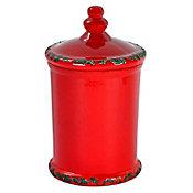 Vasija decorativa roja c/tapa mediana