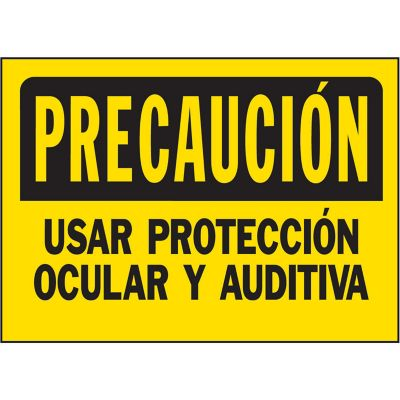 Senal Precaucion Usar Proteccion Ocular/Auditiva