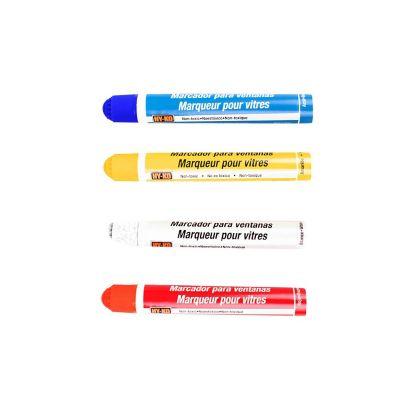 Paquete de 4 plumones marcadores para vidrio (Rojo/Azul/Bco/Ama)