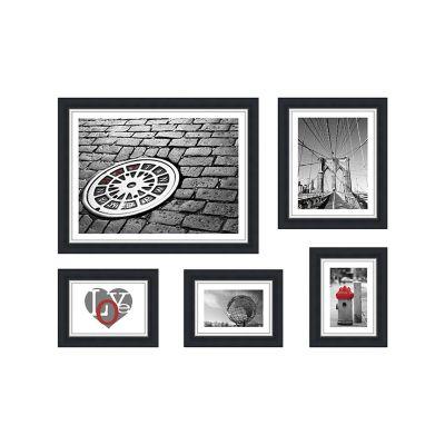 Set de 5 marcos de fotos negro