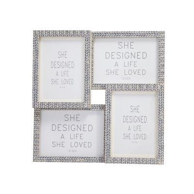 Set de 4 marcos de fotos gris 10x15cm