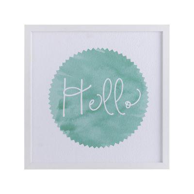 Cuadro frase Hello 32x32cm