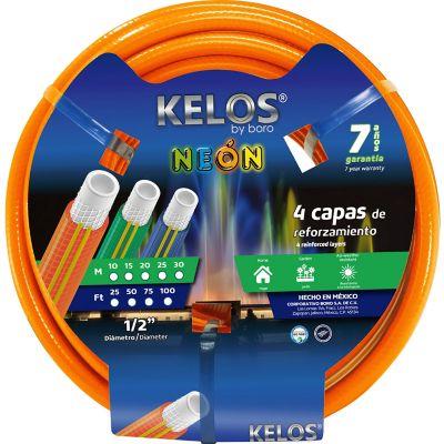 """Manguera kelos color naranja neon 1/2"""" 15m 4 capas"""