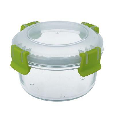 Contenedor vidrio clip color redondo 420ml