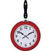 Reloj de cocina sarten rojo