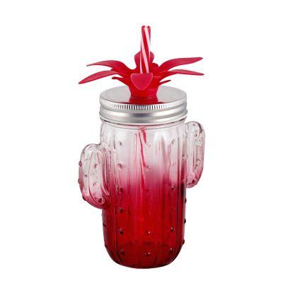 Jarra Cactus De Vidrio 400 Ml Rojo