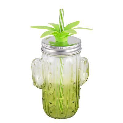 Jarra Cactus De Vidrio 400 Ml Verde