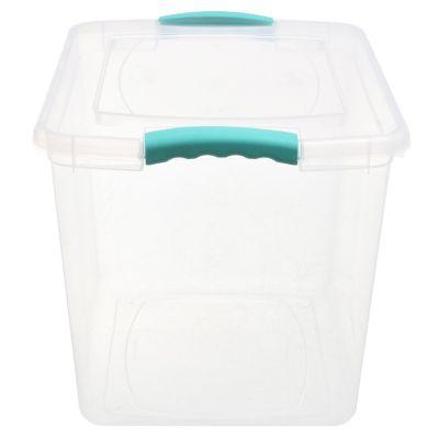 Caja organizadora traslucida de 28 lts con clip de seguridad