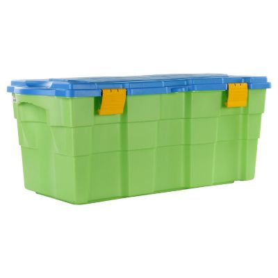 Baul 100 lts 40X45X94 Verde con tapa Celeste
