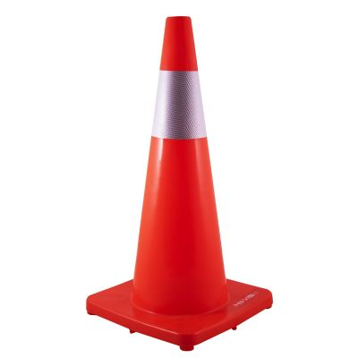 Cono vallen para control vehicular de pvc naranja de 28 in (71.12 cm) con cinta reflejante