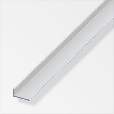 Ángulo disparejo liso 40x15mm Aluminio anodizado plata 2.5m. Protección de esquinas en paredes y columnas.