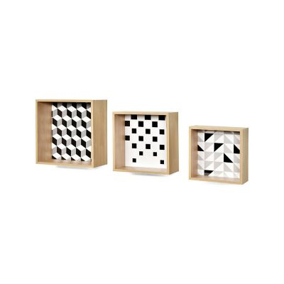 set 3 repisas con diseños cuadrada