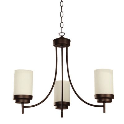 Lámpara colgante Romo de 3 luces acabado chocolate con pantalla de vidrio esmerilado opalizado, uso interior.