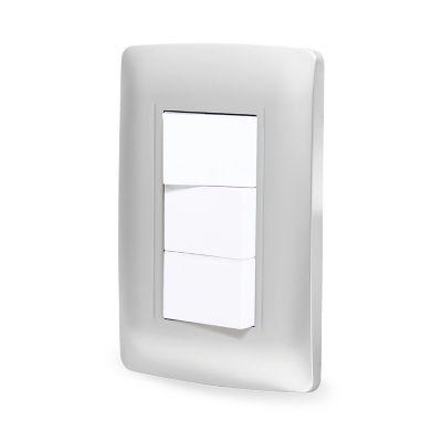 Placa c/tres apagadores sencillos plata