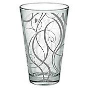 Vaso de vidrio decorado orgánico en tramas color plata, capacidad 350 ml.