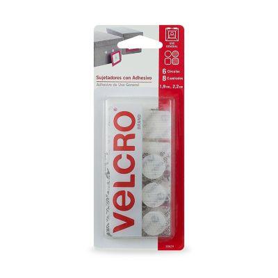 Velcro sujetadores con adhesivo de uso general, 6 círculos, 8 cuadros, 1.9 x 2.2 cm, blanco