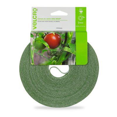 Velcro sujetadores para plantas, cinta 22.8m x 1.2 cm, color verde, no daña las plantas, reutilizable