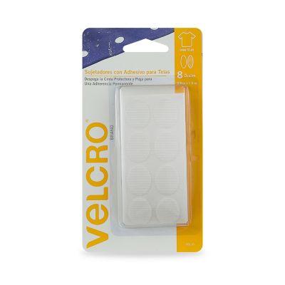 Velcro sujetadores con adhesivo para telas , 8 óvalos, 2.5 x 1.9cm, color blanco, adherencia permanente