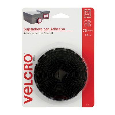 Velcro sujetadores con adhesivo de uso general, 75 círculos, 1.5cm, negro