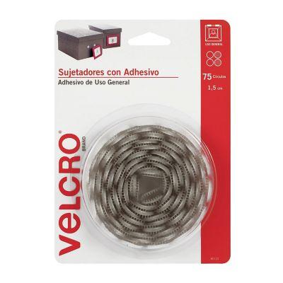 Velcro sujetadores con adhesivo de uso general, 75 círculos, 1.5cm, blanco