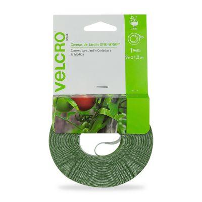 Velcro sujetadores para plantas, cinta 9m x 1.2 cm, color verde, no daña las plantas, reutilizable