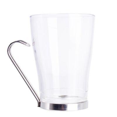 Taza de vidrio para te Debora 320 ml., cuerpo de vidrio asa de acero inoxidable