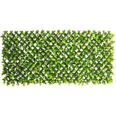 Valla extensible con flores artificiales 100x200 cm