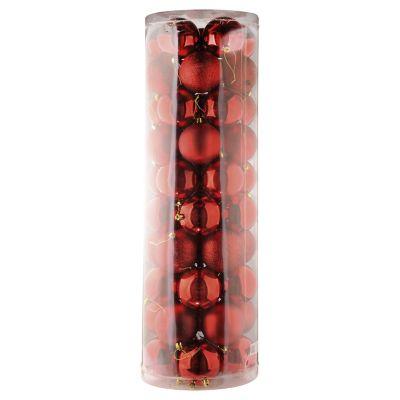 Esferas plast 6cm mix rojo 50p
