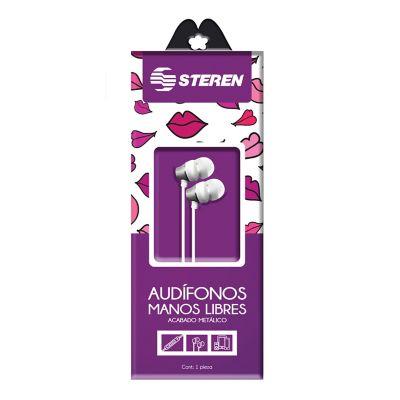 Audífono manos libres con control de volúmen carcasa con acabado metálico línea mujer