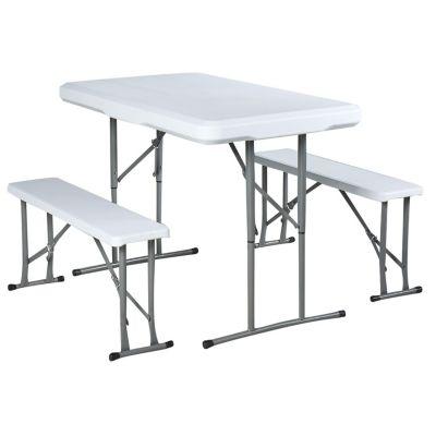 Set 1 mesa + 2 bancas plegables