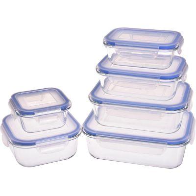 Set 6 contenedores vidrio c/clip surtidos