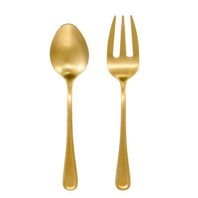 Set 2 pzs cubiertos dorados acero inoxidable