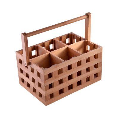 Canasta portacubiertos de bambú