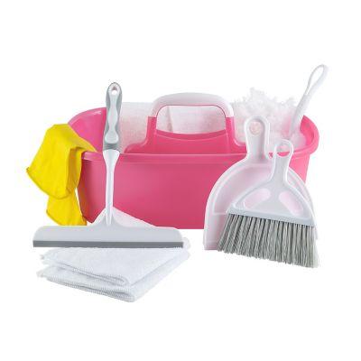 Set de 10 pzs articulos de limpieza rosa