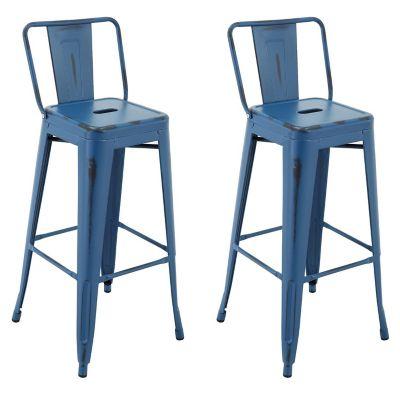 Set 2 Silla Bar Tolix Azul