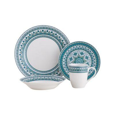 Juego de  vajilla 16 piezas Mandala azul