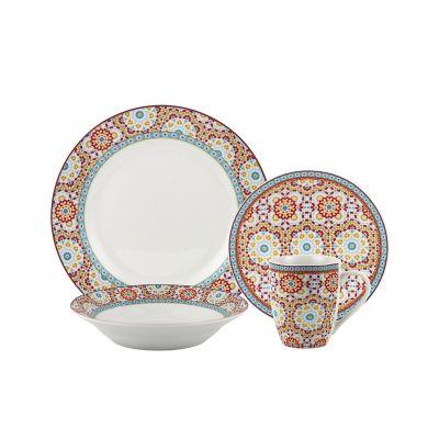 Juego de  vajilla 16 piezas Mosaic naranja/azul
