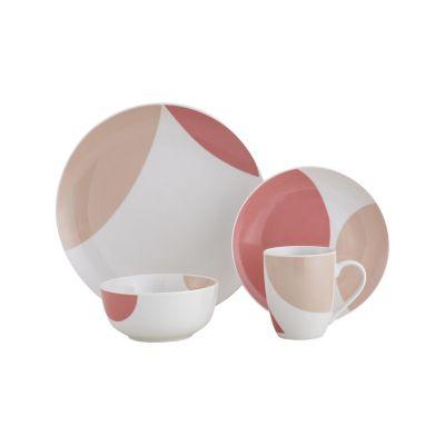 Juego de  vajilla 16 piezas Geométrico rosa