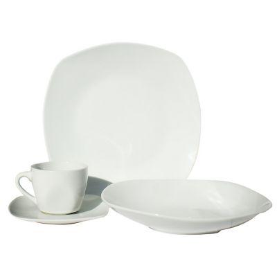 Vajilla porcelana 16 piezas cuadrada blanca