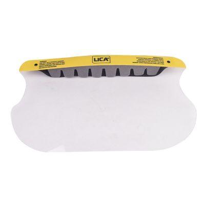 Protector facial, mica transparente de pet reciclado calibre 15 con banda elástica y visera de espuma de poliuretano.