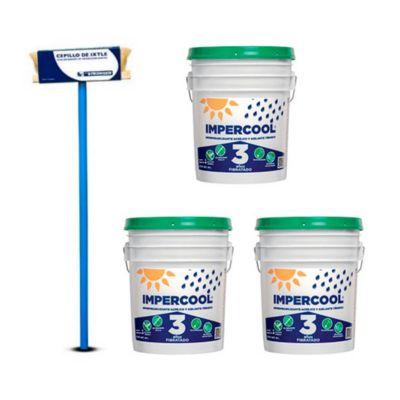 Combo  Cepillo aplicador para impermeabilizantes + 3 Impercool Fib 3A Blanco 19L
