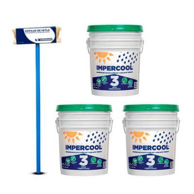 Combo  Cepillo aplicador para impermeabilizantes + 3 Impermeabilizante Acrílico Fibratado Terracota 3A 19L