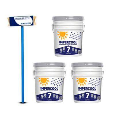 Combo  Cepillo aplicador para impermeabilizantes + 3 Impercool Fib 7A Blanco 19L