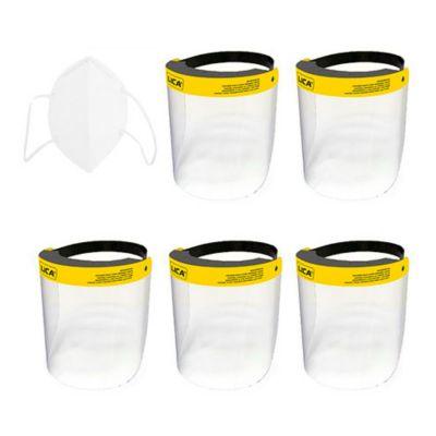 Combo  Mascarilla Cubrebocas KN95 paquete con 5 piezas en bolsa individual + 5 Protector facial, mica transparente de pet reciclado calibre 15 con banda elástica y visera de espuma de poliuretano.