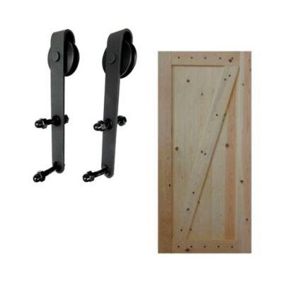 Combo  Kit corredera para puerta negro + Puerta Barn Door 100 x 213 cm