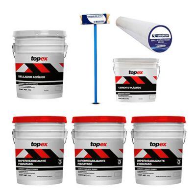 Combo  3 Topex Imper Fib 3A Rojo 19L + Topex Sellador Acrilico19L + Malla de refuerzo sencillo p/impermeabilizar  1 x 60 m + Topex Cemento Plástico3.8L + Cepillo aplicador para impermeabilizantes