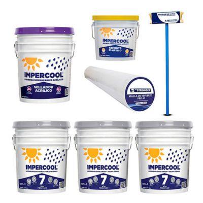 Combo  3 Impercool Fib 7A Blanco 19L  + Impercool Primario Acrilico19L  + Malla de refuerzo sencillo p/impermeabilizar  1 x 60 m + Impercool Cemento Plástico3.8L  + Cepillo aplicador para impermeabilizantes